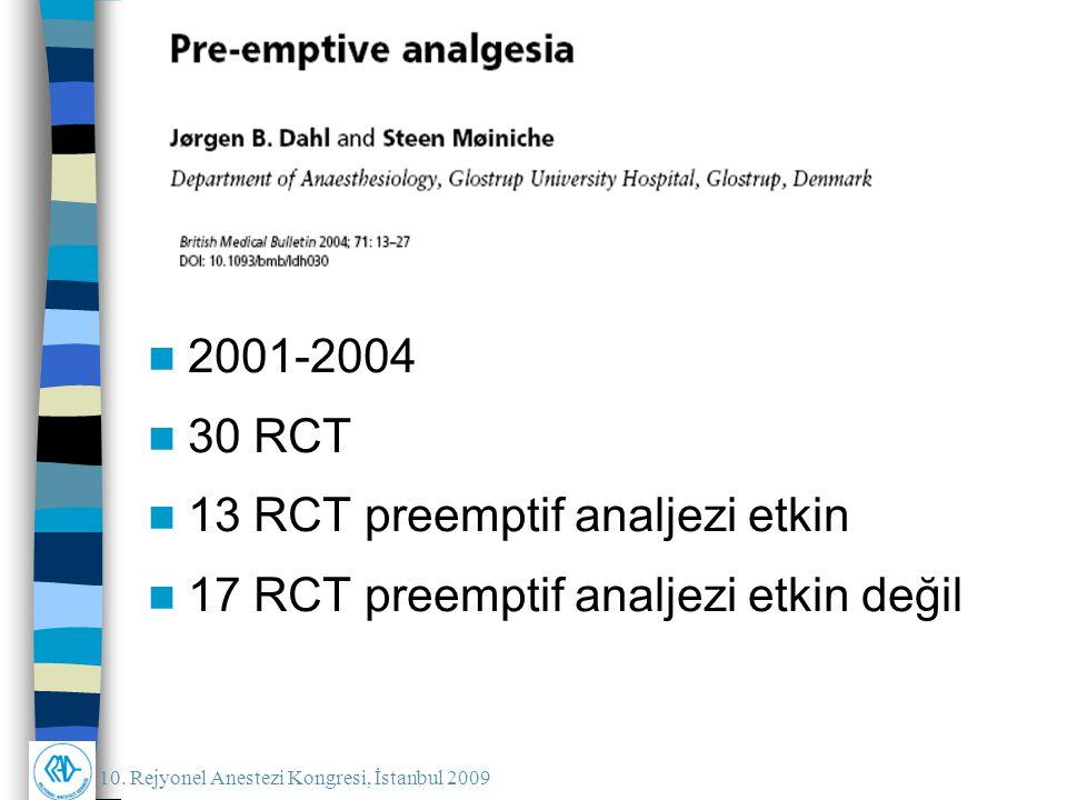 2001-2004 30 RCT 13 RCT preemptif analjezi etkin 17 RCT preemptif analjezi etkin değil