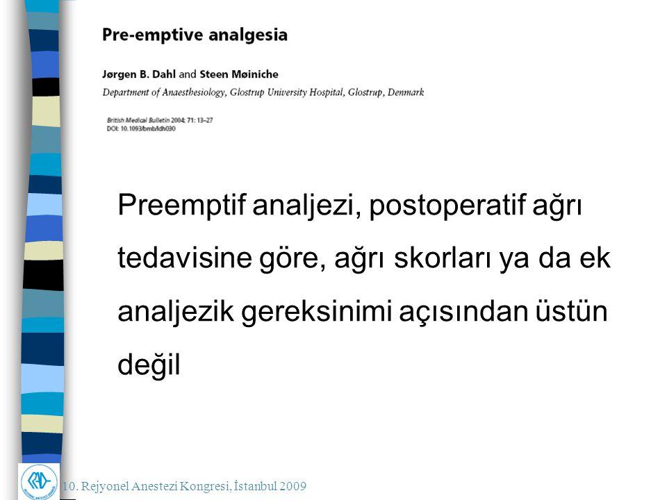 Preemptif analjezi, postoperatif ağrı tedavisine göre, ağrı skorları ya da ek analjezik gereksinimi açısından üstün değil
