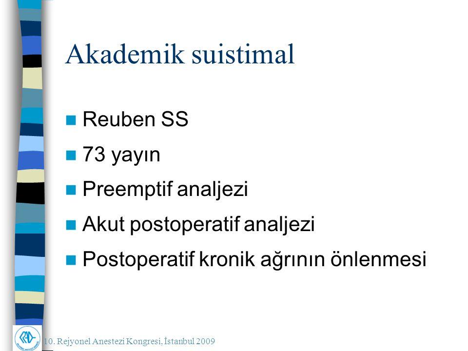 Akademik suistimal Reuben SS 73 yayın Preemptif analjezi