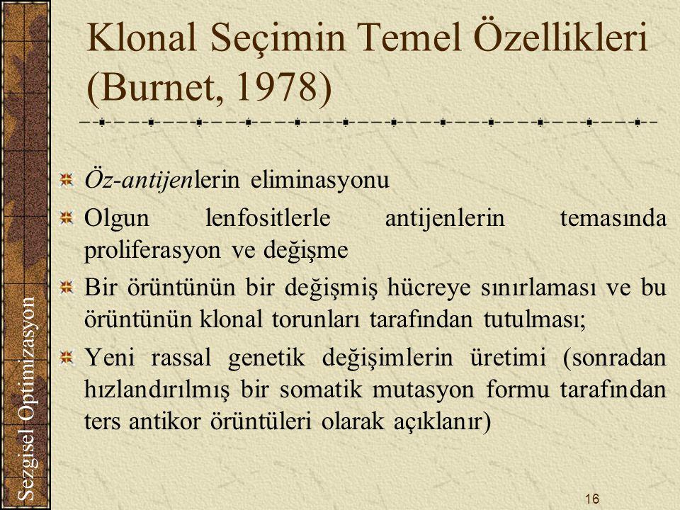 Klonal Seçimin Temel Özellikleri (Burnet, 1978)