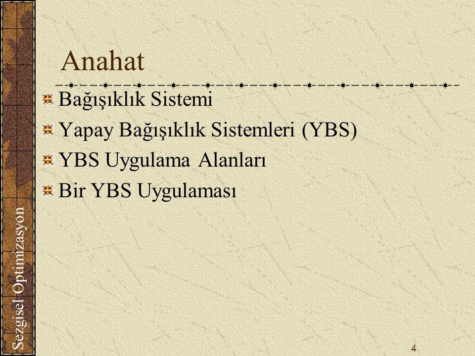 Anahat Bağışıklık Sistemi Yapay Bağışıklık Sistemleri (YBS)