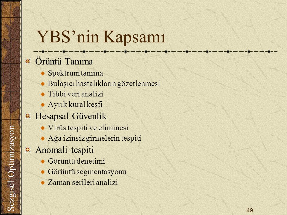 YBS'nin Kapsamı Örüntü Tanıma Hesapsal Güvenlik Anomali tespiti