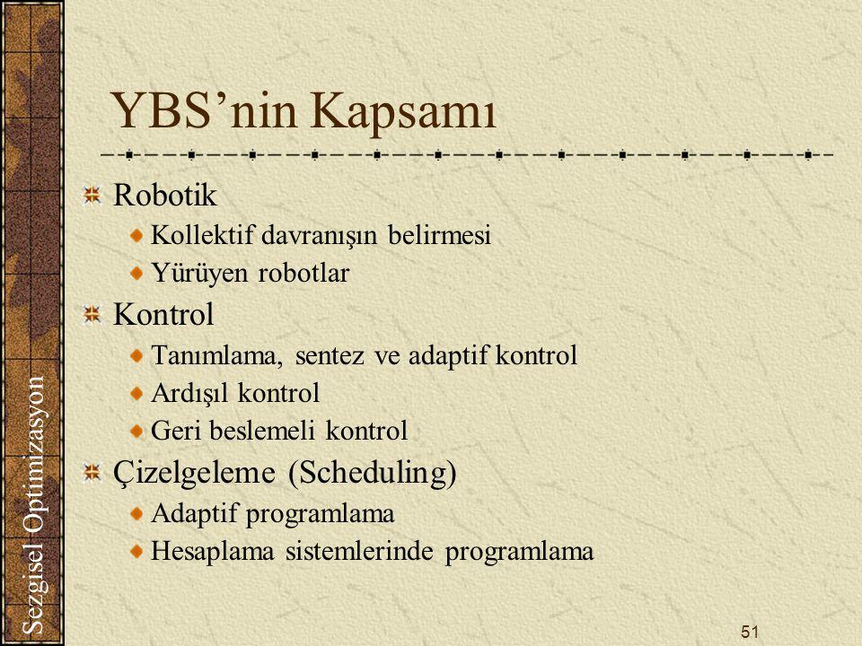YBS'nin Kapsamı Robotik Kontrol Çizelgeleme (Scheduling)