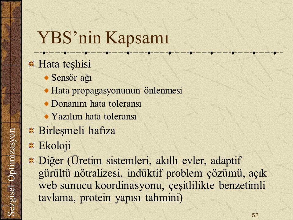YBS'nin Kapsamı Hata teşhisi Birleşmeli hafıza Ekoloji