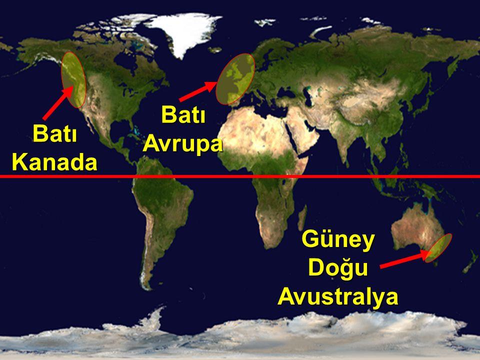 Batı Avrupa Batı Kanada Güney Doğu Avustralya