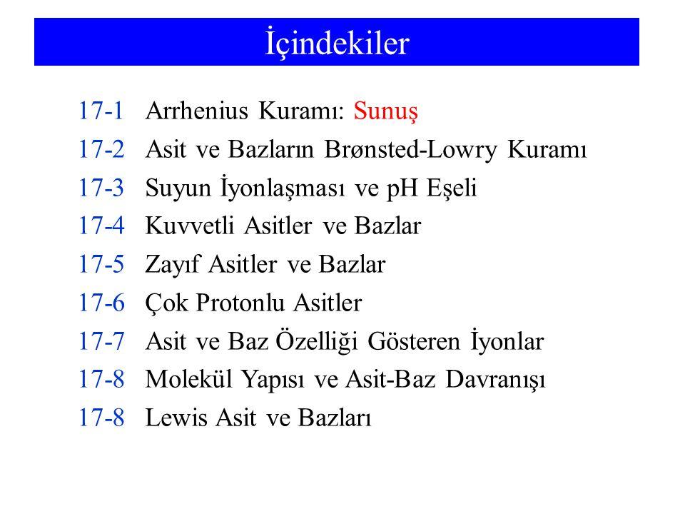 İçindekiler 17-1 Arrhenius Kuramı: Sunuş