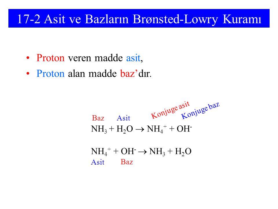 17-2 Asit ve Bazların Brønsted-Lowry Kuramı
