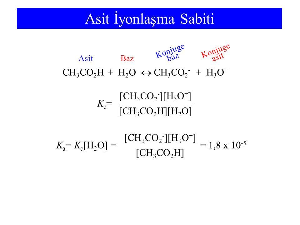 Asit İyonlaşma Sabiti CH3CO2H + H2O  CH3CO2- + H3O+ Kc=