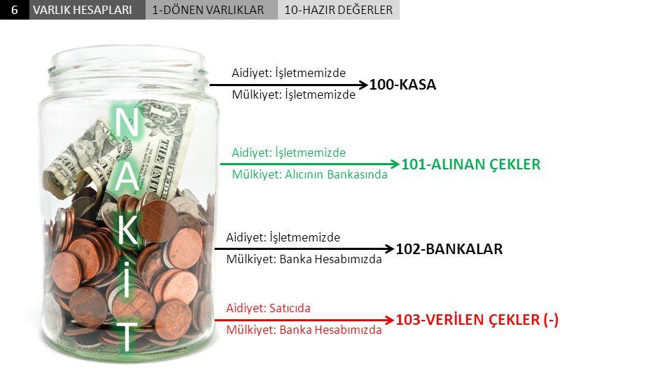 N A K İ T 100-KASA 101-ALINAN ÇEKLER 102-BANKALAR
