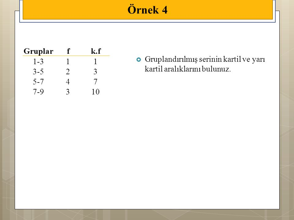 Örnek 4 Gruplar. f. k.f. 1-3. 1. 3-5. 2.