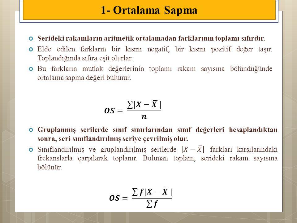 1- Ortalama Sapma 𝑶𝑺= 𝑿− 𝑿 𝒏 𝑶𝑺= 𝒇 𝑿− 𝑿 𝒇
