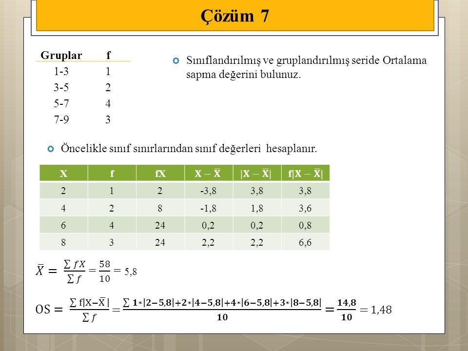 Çözüm 7 Gruplar. f. 1-3. 1. 3-5. 2. 5-7. 4. 7-9. 3. Sınıflandırılmış ve gruplandırılmış seride Ortalama sapma değerini bulunuz.