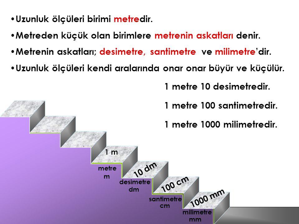 Uzunluk ölçüleri birimi metredir.