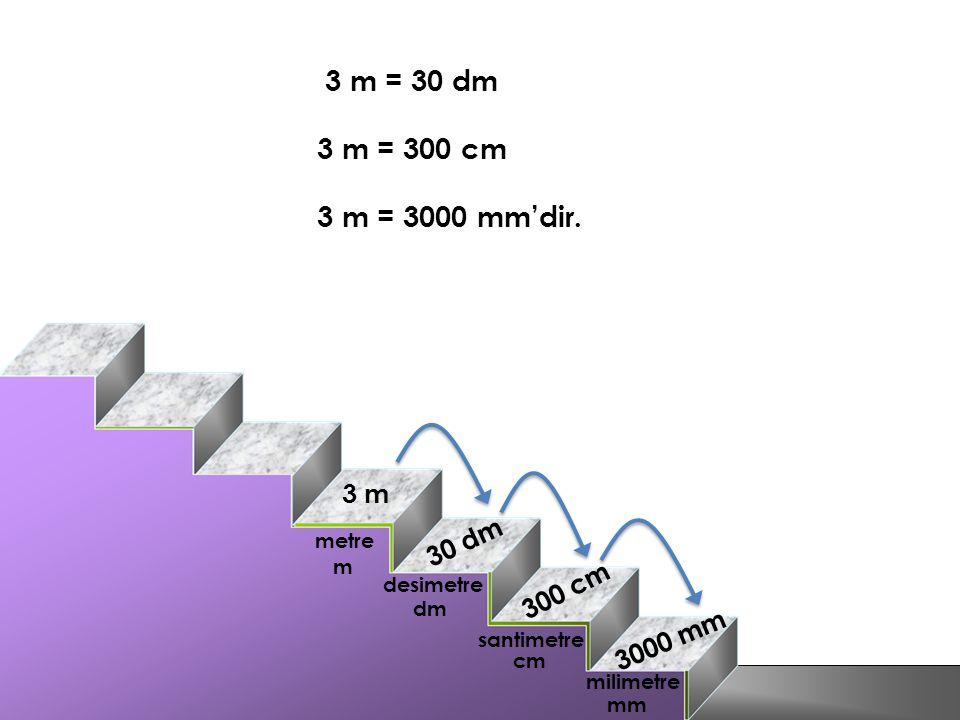 3 m = 30 dm 3 m = 300 cm 3 m = 3000 mm'dir. 3 m 30 dm 300 cm 3000 mm