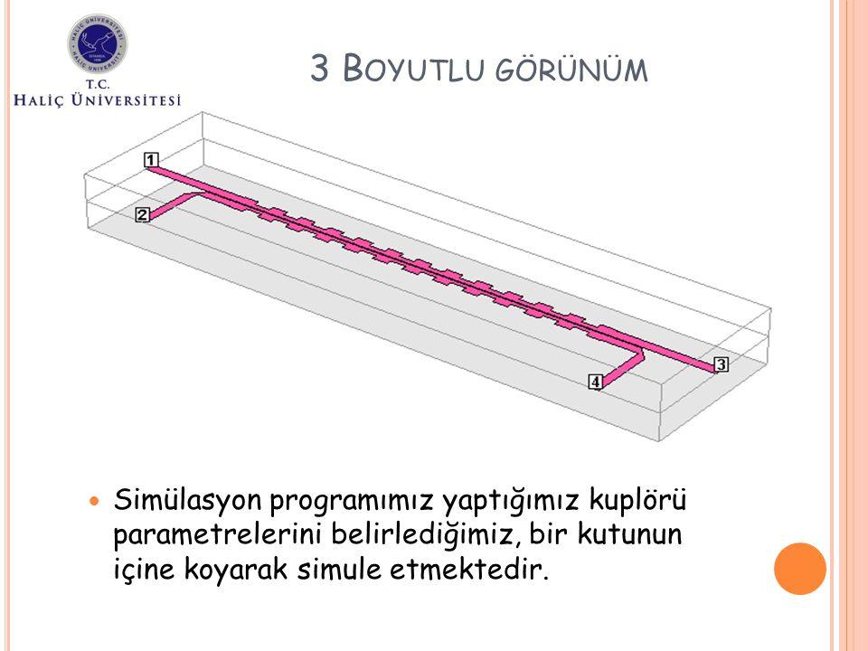 3 Boyutlu görünüm Simülasyon programımız yaptığımız kuplörü parametrelerini belirlediğimiz, bir kutunun içine koyarak simule etmektedir.