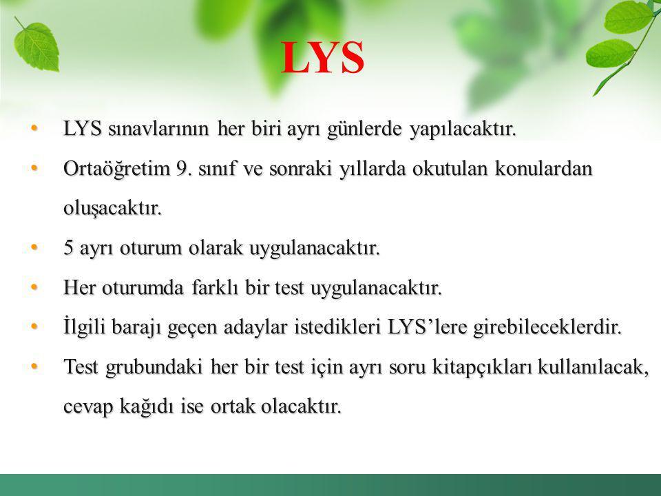 LYS LYS sınavlarının her biri ayrı günlerde yapılacaktır.