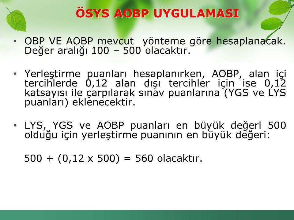 ÖSYS AOBP UYGULAMASI OBP VE AOBP mevcut yönteme göre hesaplanacak. Değer aralığı 100 – 500 olacaktır.