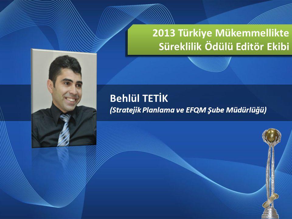 2013 Türkiye Mükemmellikte Süreklilik Ödülü Editör Ekibi Behlül TETİK