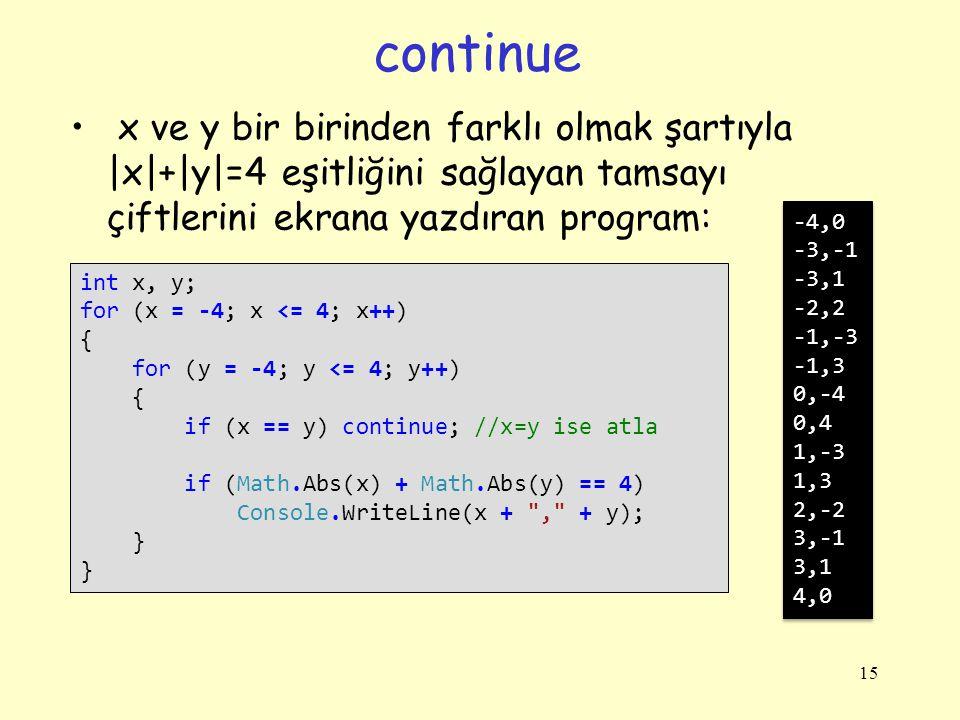 continue x ve y bir birinden farklı olmak şartıyla |x|+|y|=4 eşitliğini sağlayan tamsayı çiftlerini ekrana yazdıran program: