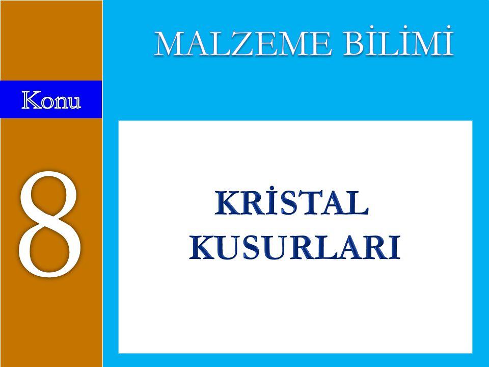 MALZEME BİLİMİ Konu 8 KRİSTAL KUSURLARI