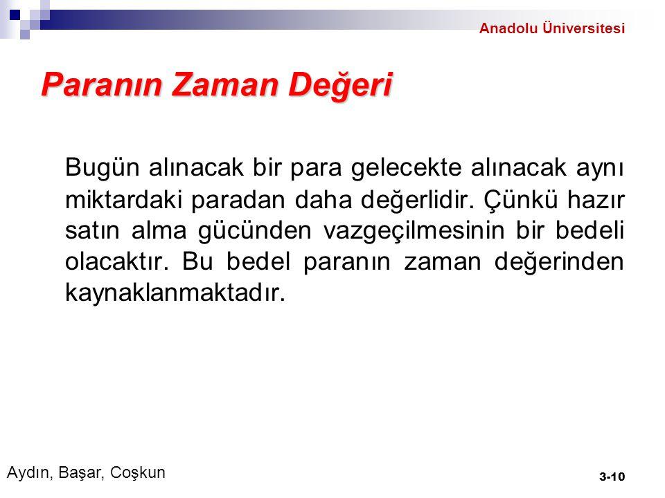 Anadolu Üniversitesi Paranın Zaman Değeri.