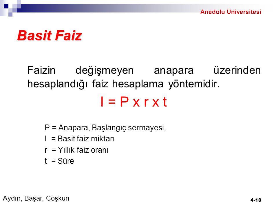 Anadolu Üniversitesi Basit Faiz. Faizin değişmeyen anapara üzerinden hesaplandığı faiz hesaplama yöntemidir.