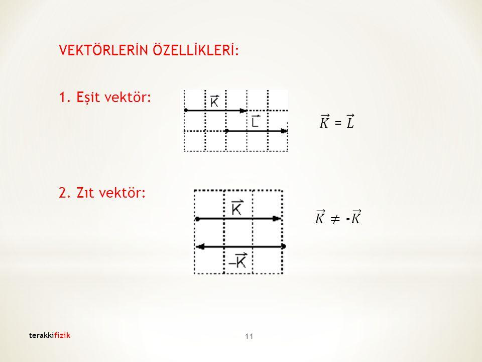 VEKTÖRLERİN ÖZELLİKLERİ: 1. Eşit vektör: 𝐾 = 𝐿 2. Zıt vektör: 𝐾 ≠ - 𝐾