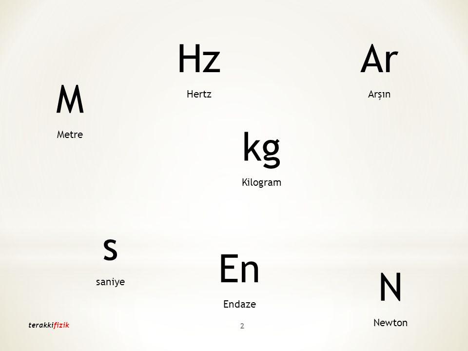 Hz Ar M kg s En N Hertz Arşın Metre Kilogram saniye Endaze Newton