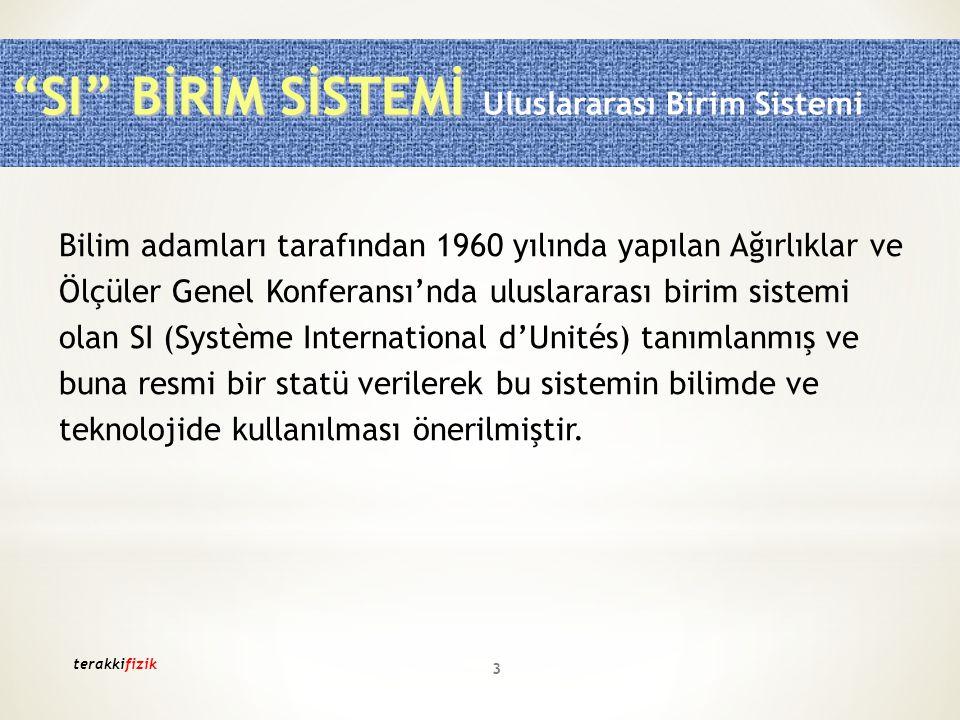 SI BİRİM SİSTEMİ Uluslararası Birim Sistemi