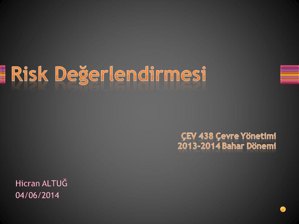 Risk Değerlendirmesi ÇEV 438 Çevre Yönetimi 2013-2014 Bahar Dönemi
