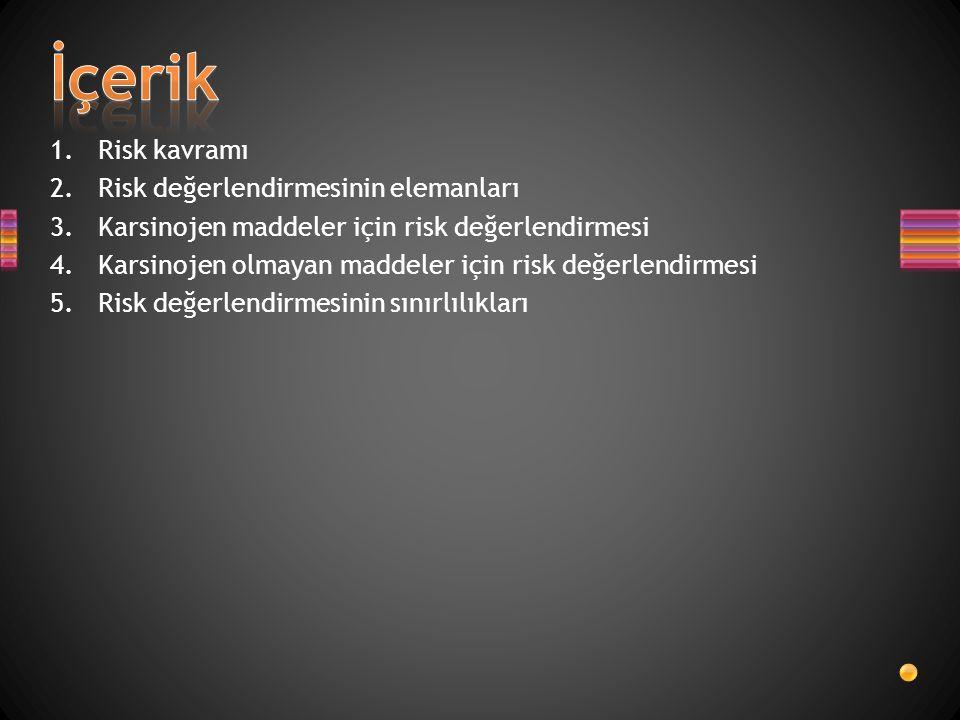 İçerik Risk kavramı Risk değerlendirmesinin elemanları