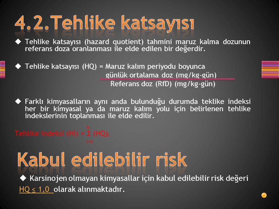 4.2.Tehlike katsayısı Kabul edilebilir risk