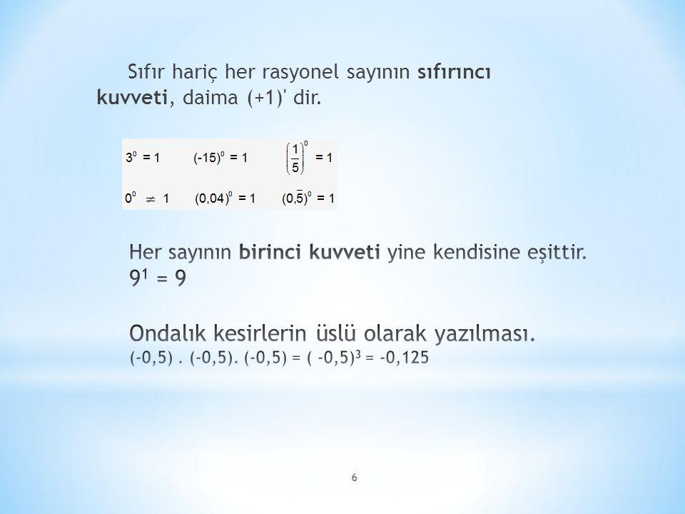 Sıfır hariç her rasyonel sayının sıfırıncı kuvveti, daima (+1) dir.