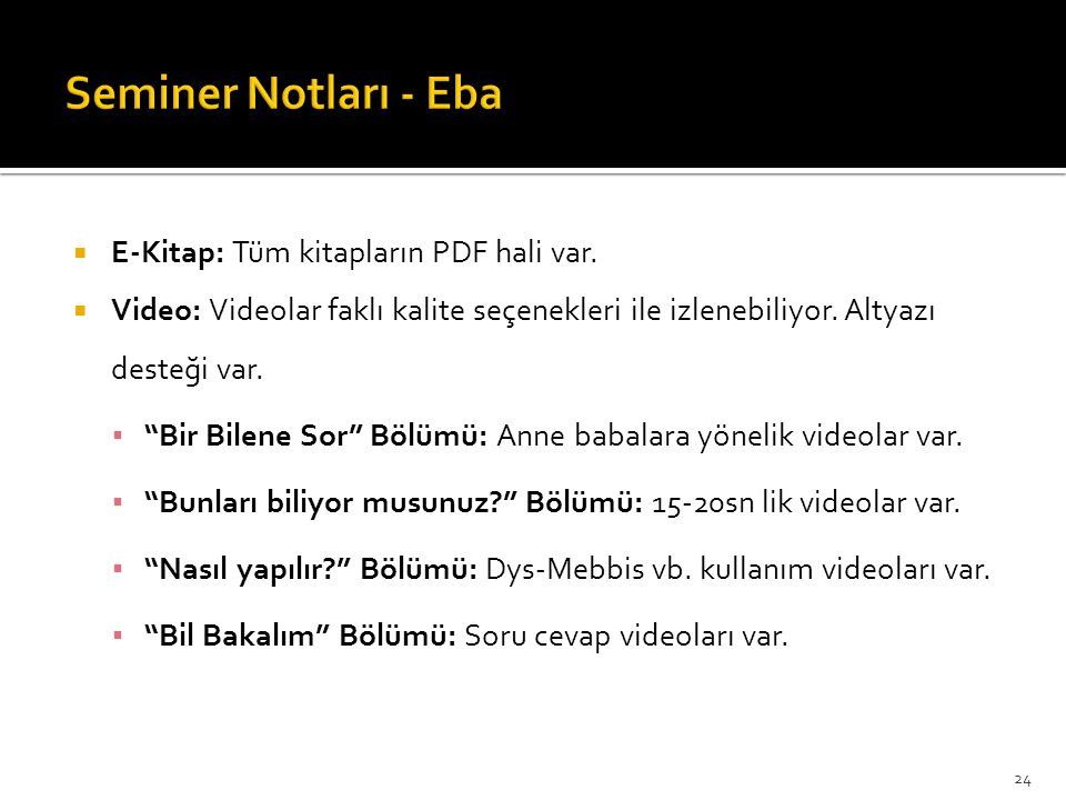 Seminer Notları - Eba E-Kitap: Tüm kitapların PDF hali var.