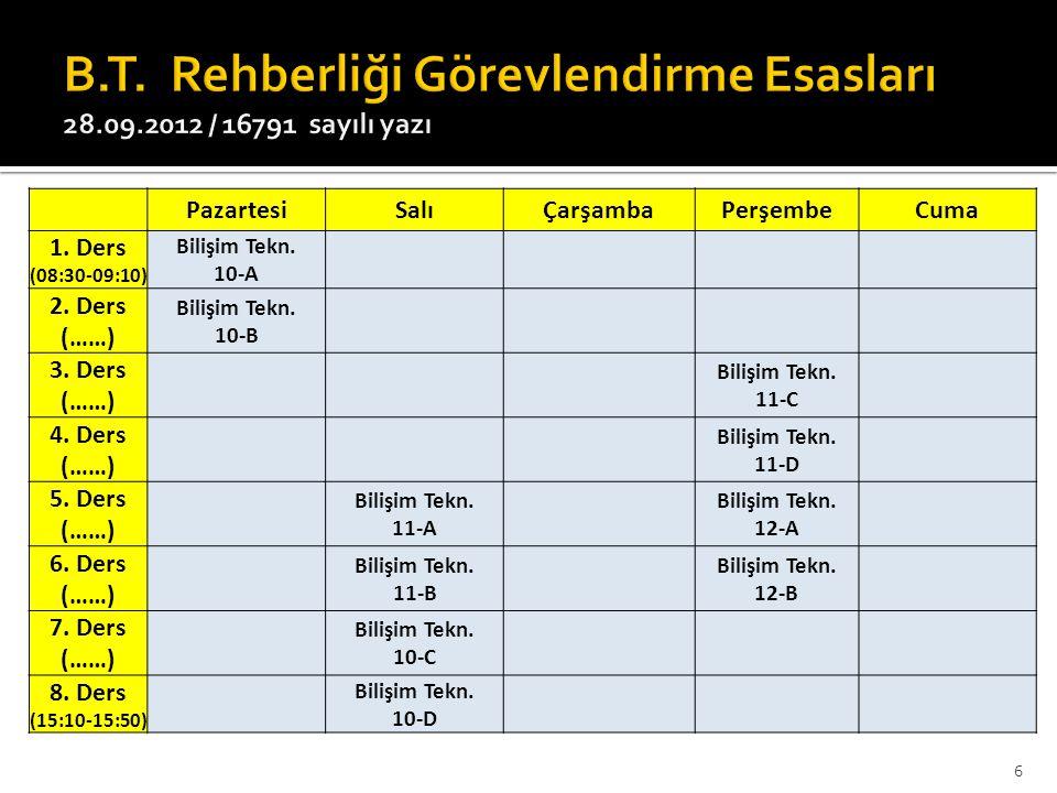 B.T. Rehberliği Görevlendirme Esasları 28.09.2012 / 16791 sayılı yazı