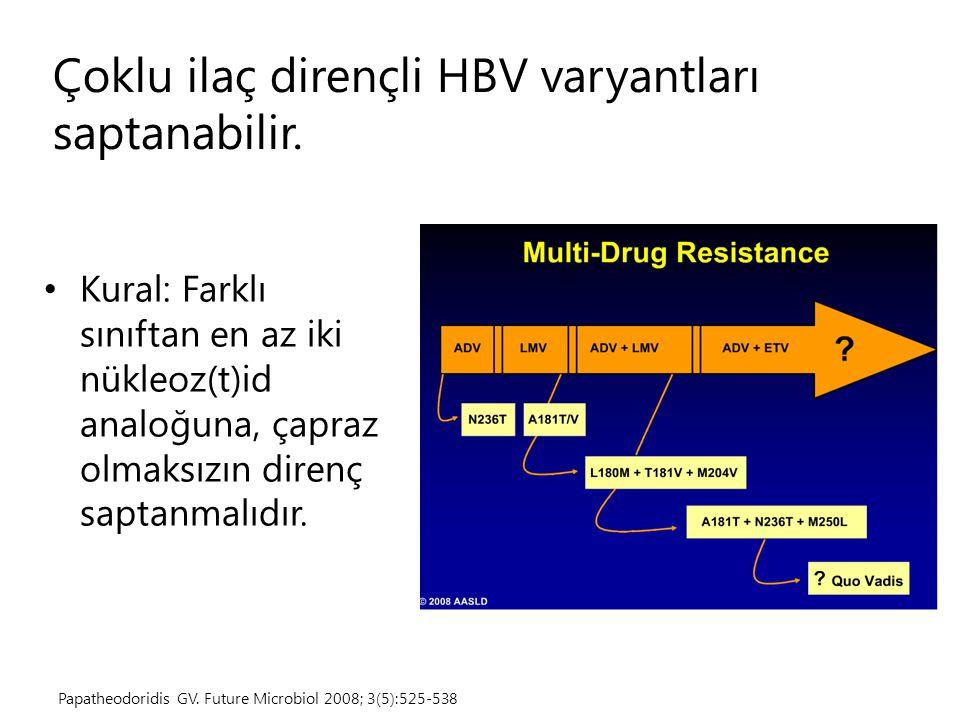 Çoklu ilaç dirençli HBV varyantları saptanabilir.