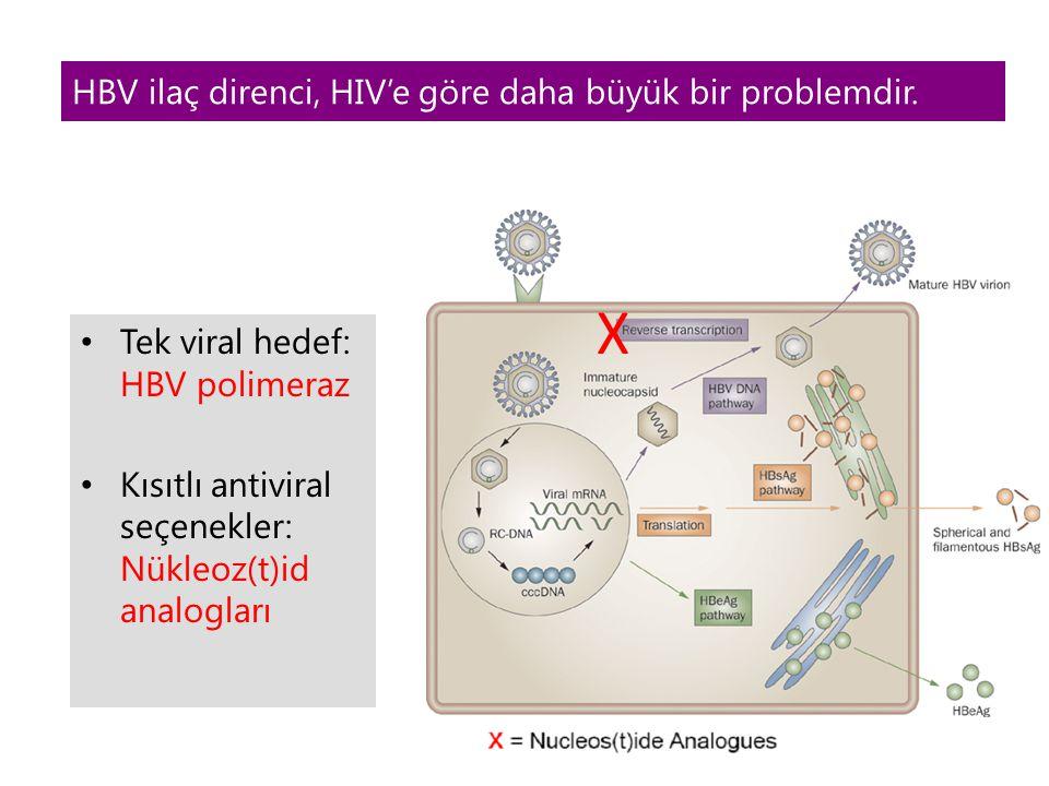 HBV ilaç direnci, HIV'e göre daha büyük bir problemdir.