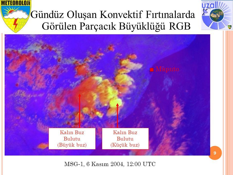 Gündüz Oluşan Konvektif Fırtınalarda Görülen Parçacık Büyüklüğü RGB