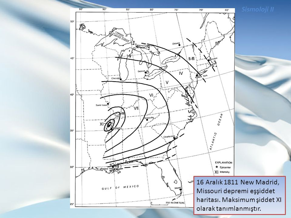 Sismoloji II 16 Aralık 1811 New Madrid, Missouri depremi eşşiddet haritası.