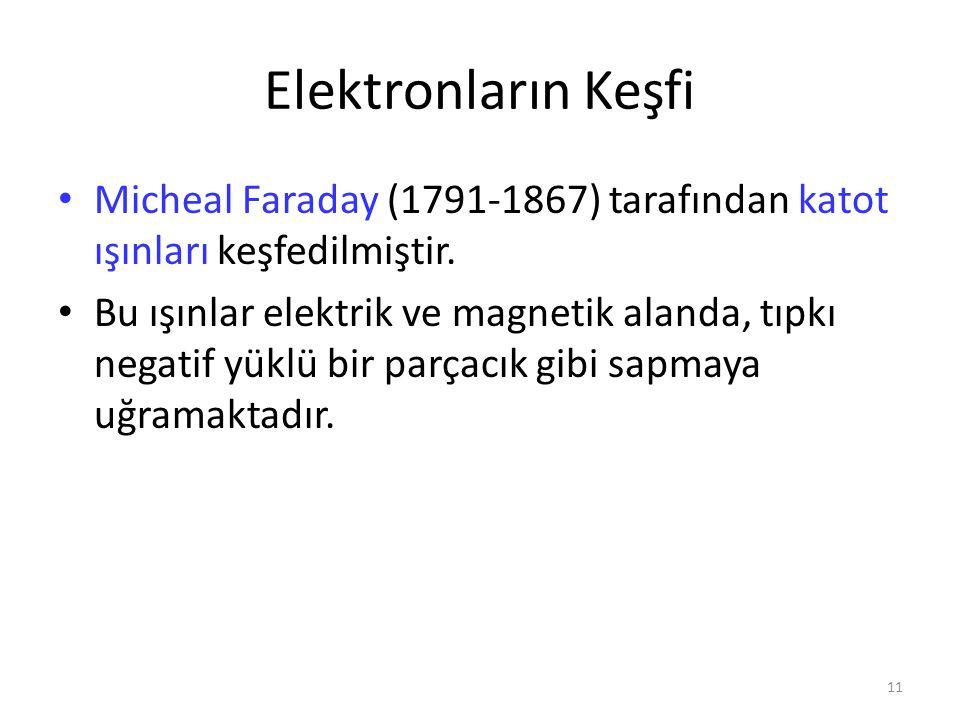 Elektronların Keşfi Micheal Faraday (1791-1867) tarafından katot ışınları keşfedilmiştir.