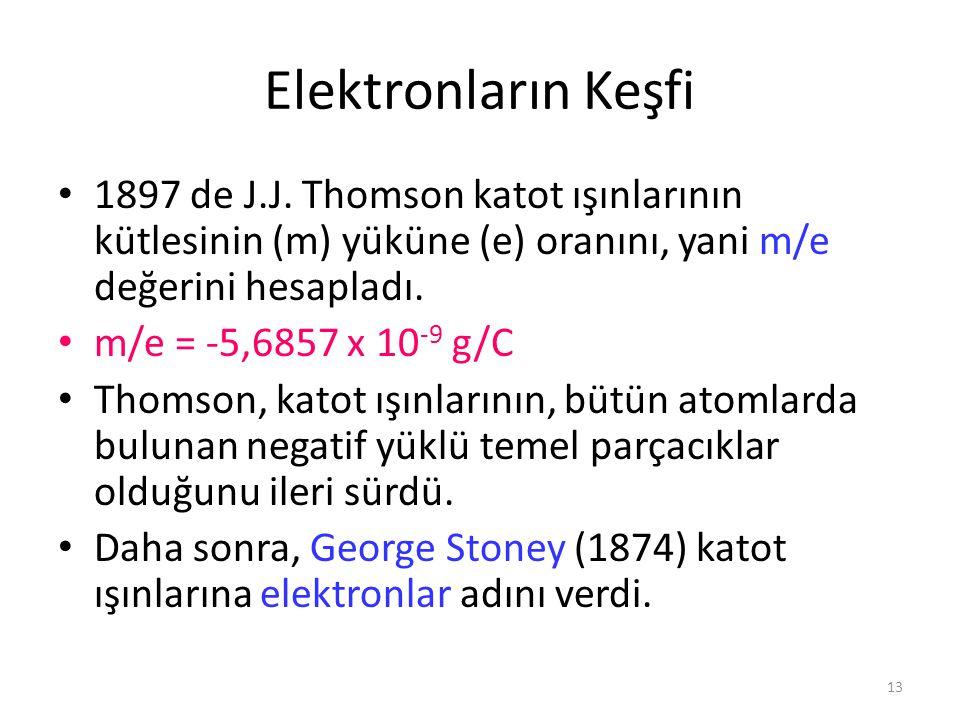Elektronların Keşfi 1897 de J.J. Thomson katot ışınlarının kütlesinin (m) yüküne (e) oranını, yani m/e değerini hesapladı.