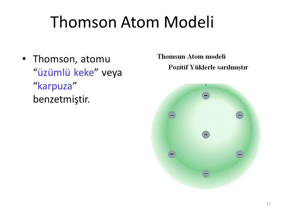 Thomson Atom Modeli Thomson, atomu üzümlü keke veya karpuza benzetmiştir.