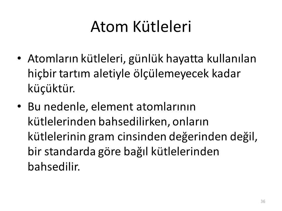 Atom Kütleleri Atomların kütleleri, günlük hayatta kullanılan hiçbir tartım aletiyle ölçülemeyecek kadar küçüktür.
