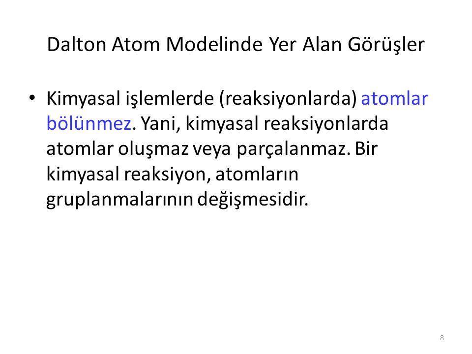 Dalton Atom Modelinde Yer Alan Görüşler