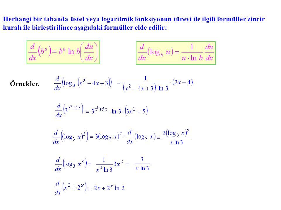 Herhangi bir tabanda üstel veya logaritmik fonksiyonun türevi ile ilgili formüller zincir kuralı ile birleştirilince aşağıdaki formüller elde edilir: