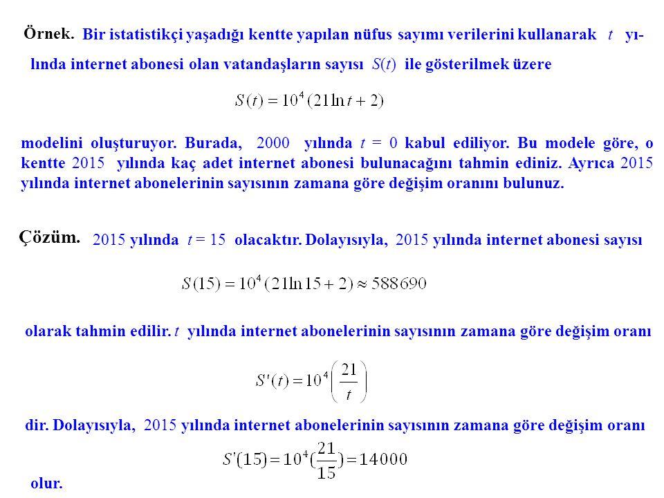 Örnek. Bir istatistikçi yaşadığı kentte yapılan nüfus sayımı verilerini kullanarak t yı-