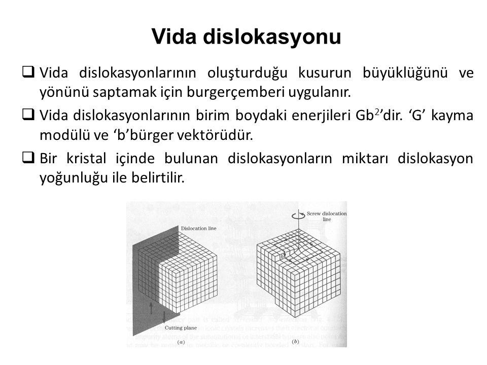 Vida dislokasyonu Vida dislokasyonlarının oluşturduğu kusurun büyüklüğünü ve yönünü saptamak için burgerçemberi uygulanır.