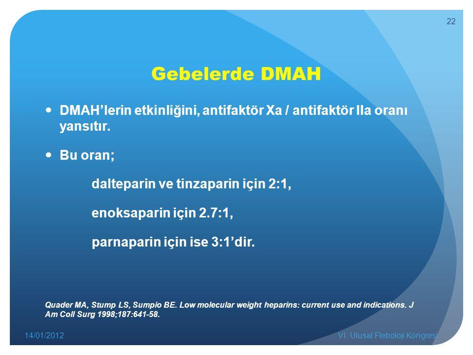 Gebelerde DMAH DMAH'lerin etkinliğini, antifaktör Xa / antifaktör IIa oranı yansıtır. Bu oran; dalteparin ve tinzaparin için 2:1,