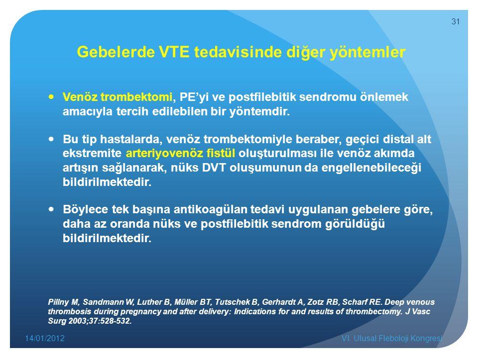 Gebelerde VTE tedavisinde diğer yöntemler