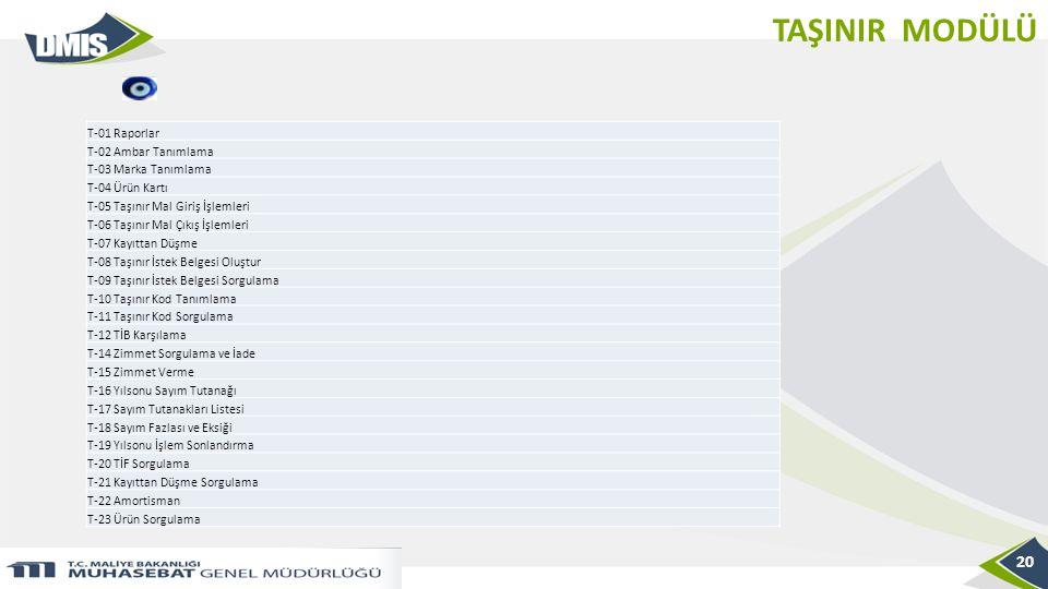 TAŞINIR MODÜLÜ T-01 Raporlar T-02 Ambar Tanımlama T-03 Marka Tanımlama
